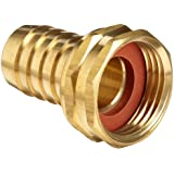 "Anderson Metals Brass Garden Hose Swivel Fitting, Connector, 5/8"" Barb X 3/4"" Female Hose"