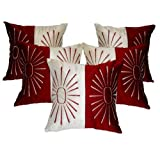 Zikrak Exim Star Embroidery Cushion Cover Red/ivory 5 Pcs Set 40 X 40 Cm