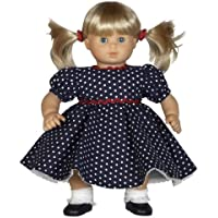 """Navy Blue Polka Dot Dress With Shoes And Hair Ties Outfit Fits 15"""" Dolls Like Bitty Baby And Bitty Twins"""