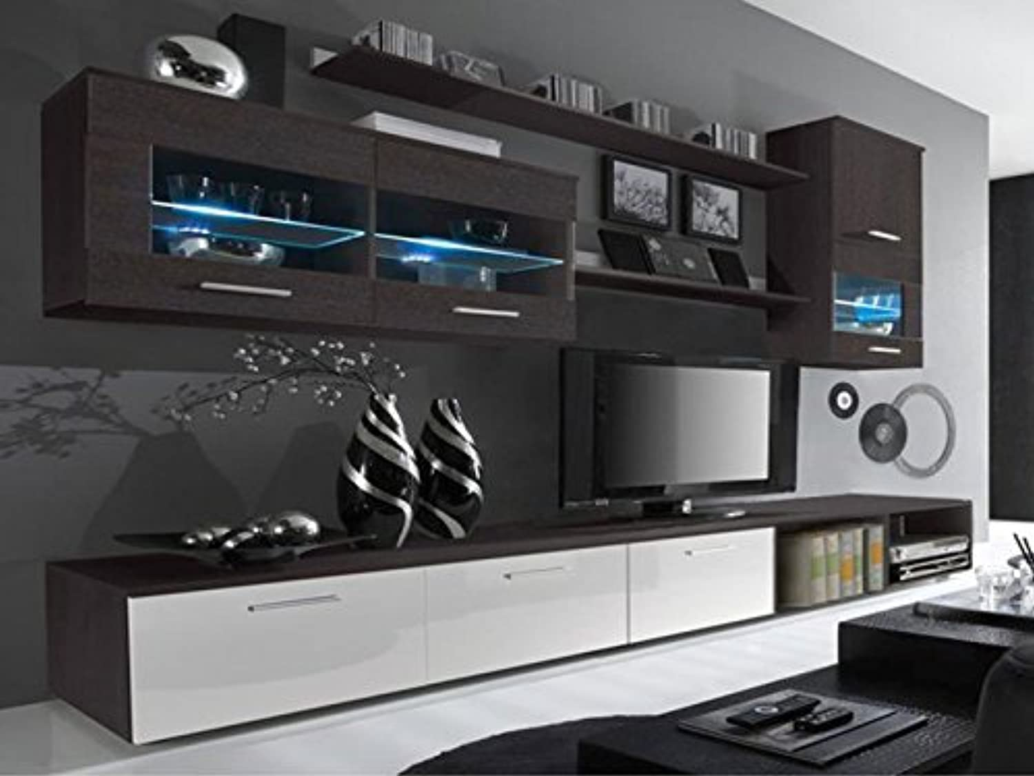 Delta living room set high gloss entertainment package wall units