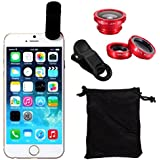 Ayamaya 3-in-1 Iphone Selfie Camera Lens Kits Fish Eye Lens + Wide Angle + Micro Lens Universal Clip Lens For Iphone 6s/6s Plus/6/6 Plus/5s (Red)