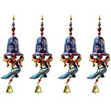 Door Hanging Blue Painted Bell With Jhalar Blue Peacock With Metal Bell Set Of 4 By Handicrafts Paradise