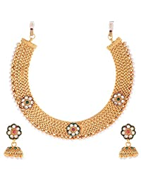 Zeneme Traditional Jhumki Pearl Necklace Set For Women