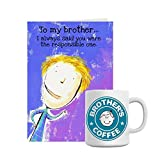 Giftsbymeeta Brothers Mug With Purple Card Rakhi Gift (Rakhi Gifts Card:L:4xH:7 And Mug:H:3.7xdia:2.5(In...