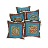 Rajrang Indian Home Décor Cotton Embroidery Mirror Work Cushion Cover Set Of 5 Pcs