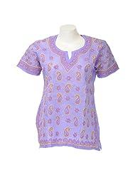 Lucknow Chikan Industry Women Cotton Chikankari Purple Round Neck Kurti