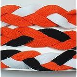 3 PACK! Extreme Sports Braided Mini NON SLIP Sports Headband (Orange White-Orange Black-Orange Black White)