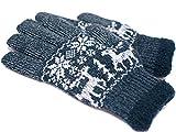 (ジーンズショップ マルカワ) Jeans shop MARUKAWA 手袋 メンズ スマホ対応 スマートフォン対応 ニット トナカイ 柄 2color Free ブラック