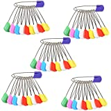 BCP Pack Of 50 Assorted Colors Baby Kids Cloth Diaper Nappy Pins Safety Pins With Plastic Head Safety Locking