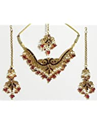 Light Rust And Red Cut Glass Necklace Set With Mang Tika And Ring - Stone, Bead And Metal