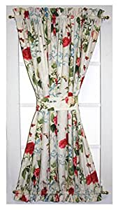 Amazon.com  Botanical Floral Print Semi Sheer Door Panel Curtain With Tie Back 48Inchby72Inch