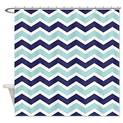 Nautical Chevron Light Blue Shower Curtain