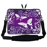 17 Inch Purple Butterfly Design Laptop Sleeve Bag Carrying Case With Hidden Handle & Adjustable Shoulder Strap...