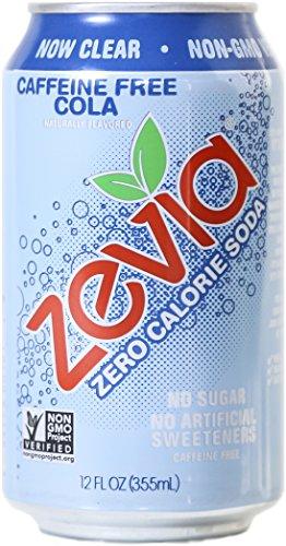 Zevia Zero Calorie Soda, Caffeine Free Cola, Naturally Sweetened, (Pack of 24)