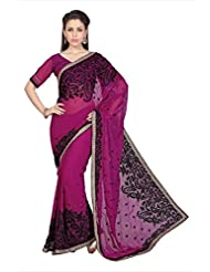 Designersareez Women Dark Pink Faux Georgette Saree With Unstitched Blouse (1584)