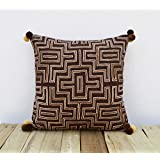 Brown And Beige Pillow Cover Embroidered Cushion Cover Mola Style Pillows Standard Size 16X16 Inches - B01ASXE1LM