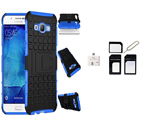 Kick Stand Shock Proof Case For Samsung Galaxy A8-Blue With 1 OTG Card Reader, 1Sim Adapter Combo