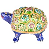 Rajgharana Handicrafts Multi Color Metal Meenakari Metal Tortoise - (14 Cm X 10 Cm)