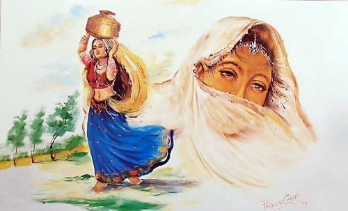 """Dolls Of India """"Beautiful Woman In Search Of Water"""" Reprint On Paper - Unframed (91.44 X 58.42 Centimeters)"""