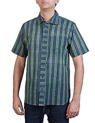 Viniyog Men Hand Woven Mangalgiri Cotton Blue Stripes Weave Shirt