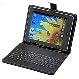 ECellStreet PU LEATHER Keyboard FLIP CASE COVER FOR Datawind UbiSlate 3G7 7 INCH TABLET STAND COVER HOLDER With...