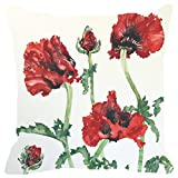 Leaf Designs Red And Green Floral Cushion Cover - B00V3HVQZC