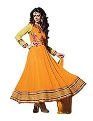 Mantra Fashion Yellow Color Floral Thread Embroidery Work & Lace Border Work Anarkali Salwar Kameez