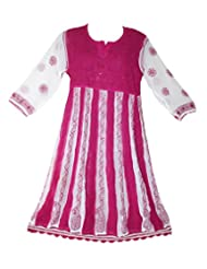 All About Pinks' Chikan Kurti In Pink And White Colour In Large (Size 42)