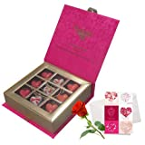 Sweet Memories Of Love Chocolates With Love Card And Rose - Chocholik Belgium Chocolates