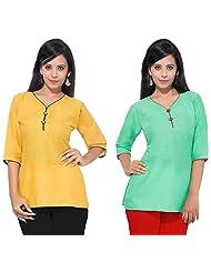 Pranjal Women's Plain Cotton Green & Yellow Short Kurti Combo