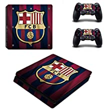 Hytech Plus FC Barcelona Team Colors Edition Theme Sticker For PS4 Slim Console & 2 Controllers