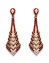 Stonesworld Beautiful Earrings Dangler In Red And Gold Combination For Women