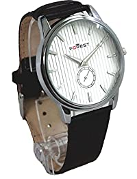 FOREST Analogue White Dial Men's Watch With Free Extra Battery & Box (White)