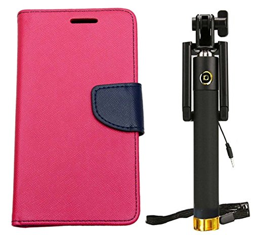 Novo Style Fancy Diary Wallet Flip Cover For Samsung Galaxy S4 I9500 - Pink + WIRED Selfie Stick Portrait Taker...