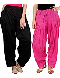 Daffodil Cotton Indian Black And Pink Patiala Salwar Combo Pack Of 2 (Free Size)