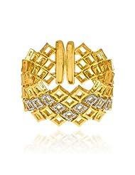 Mahi CZ Collection White Gold Plated CZ Stones Kada For Women-BA1100836G