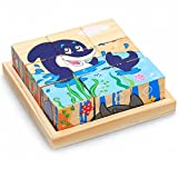 Mutong Toys 9-Piece Six Pattern Toy Brick Childhood Cognitive Fight Inserted Wooden Jigsaw Puzzle SeaWorld