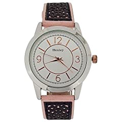 Henley Ladies Two Tone Silver Dial Pink & Grey Suedette Strap Watch H06064.5