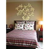 WALLMANTRA Designer Floral Vine Wall Decal Wall Sticker (Size: 18x18 Inches)