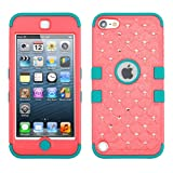 Ipod Touch – iPod touch 5 (5th generation) Heavy Duty Defender Tuff Hybrid Hard Case + [FREE Touch Screen Stylus] (Diamond Baby Red/Tropical Teal)