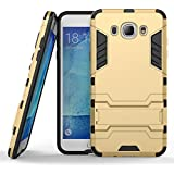 Mobile Mart Kickstand & Shock Proof Hard Shell Back Cover Case For Samsung Galaxy J7- 6 (New 2016 Edition) Gold