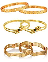 Zeneme Antique Design Gold Plated Kada Bangle Set Jewellery For Women And Girls Combo Of 3