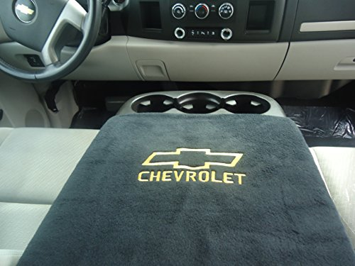 ALL 2003 – 2013 CHEVY TRUCKS AND SUV'S CENTER ARMREST CONSOLE COVERS WITH EMBROIDERED CHEVY LOGO COVER MUST LOOK LIKE THE ONE IN THE PICTURE