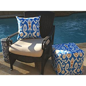 All Over Ikat Outdoor Pouf, blue