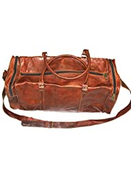HLC-(Handmade Leather Craft) Real Goat Leather Handmade Travel Luggage Vintage Overnight Genuine Duffle Bag Brown...