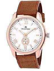 Swisstone GR022-WHT-BG White Dial Beige Strap Analog Wrist Watch For Men/Boys