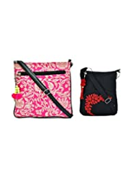 Combo Of Tribe White And Pink Canvas PU Crossbody Sling With Tassel With Black Small Sling Bag
