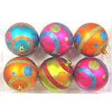 Queens Of Christmas WL-ORN-6PK-MDGR 6 Pack Mardi Gras Ball Ornament With Line And Dots Design, Pink/Blue/Orange...