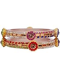 Dulari Multicolor Stone Embellished Cream Lac Round Bangles For Women (Set Of 2 Bangles)
