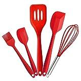 Joyoldelf Premium Silicone Kitchen Utensils Set (5 Piece) In Hygienic Solid Coating-Turner,Large Spatula,Small...